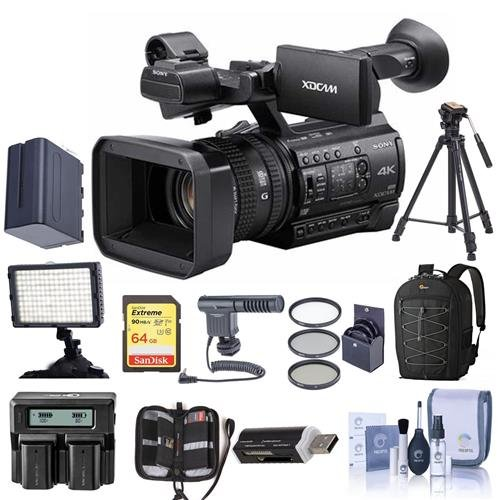 Sony PXW-Z150 Compact 4K Handheld XDCAM Professional Camcorder - Bundle With 64GB U3 SDHC Card, Spare Battery, 62mm Filter Kit, Video Light, Video Bag, Shotgun Mic, Cleaning Kit, And More