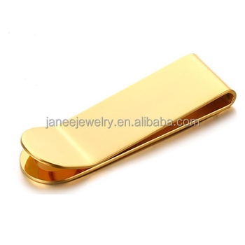 Customized Blank Stainless Steel Metal Crafts IP Plated Gold Money Clip
