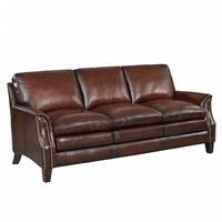 Luxury Brown Leather Sofa American Classic Style Couch