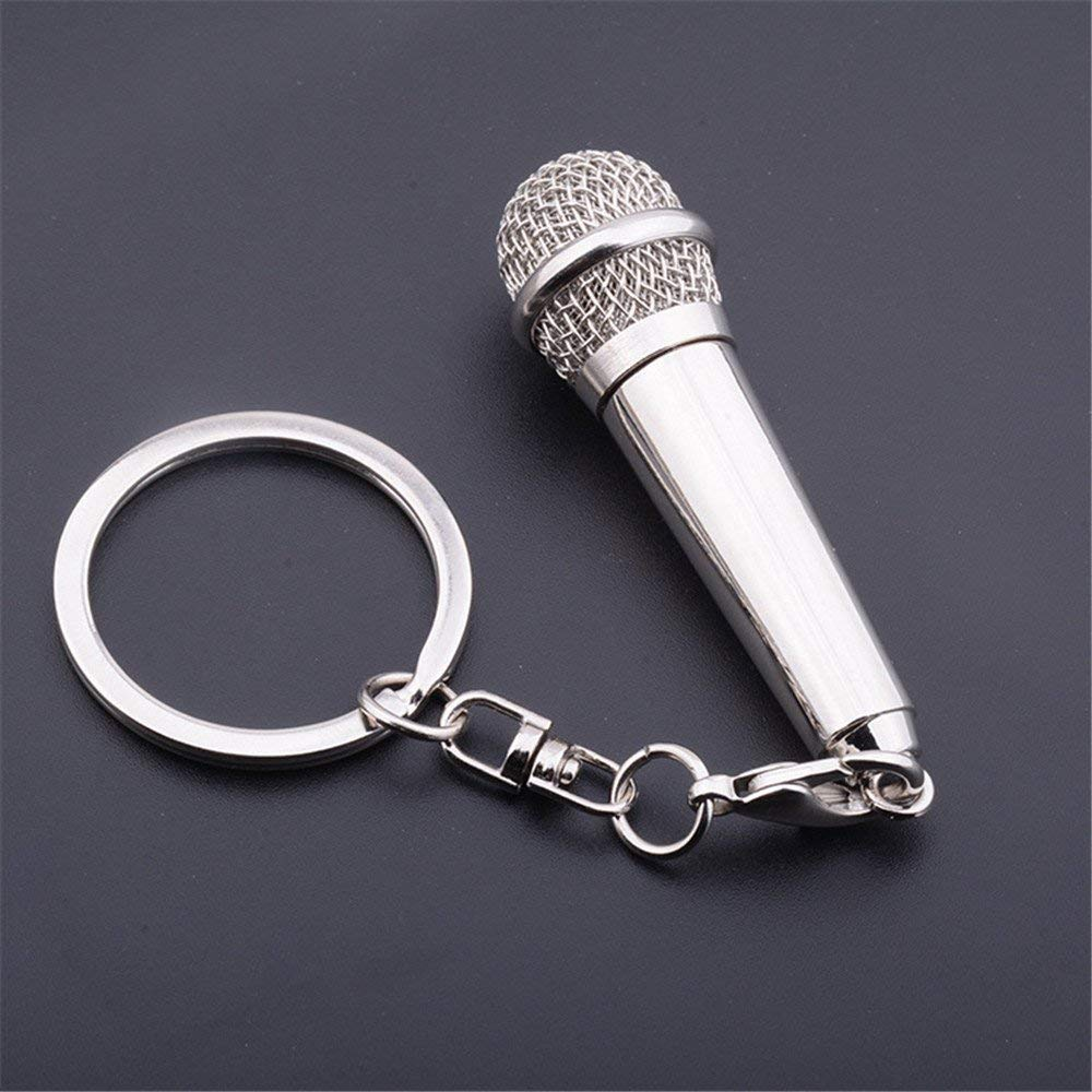 Charm Music Microphone Voice Keychain Metal Keychains Singer Rapper Rock Key Chain Women Men Purse Bag Pendant Car Key Ring Gift