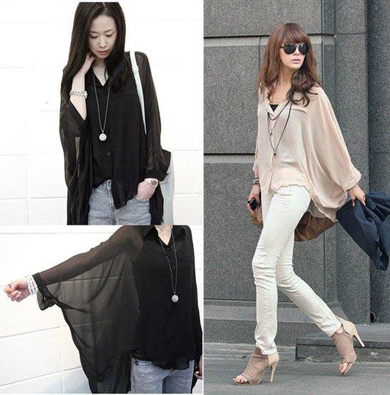 7e48a1f6f956 Fashion Women Loose Chiffon Bat Sleeve Tops