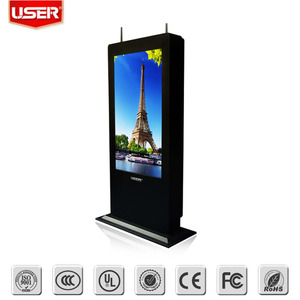 Latest in store outdoor lcd digital signage display monitor touch screen kiosk with pc led backlight with multi points touch
