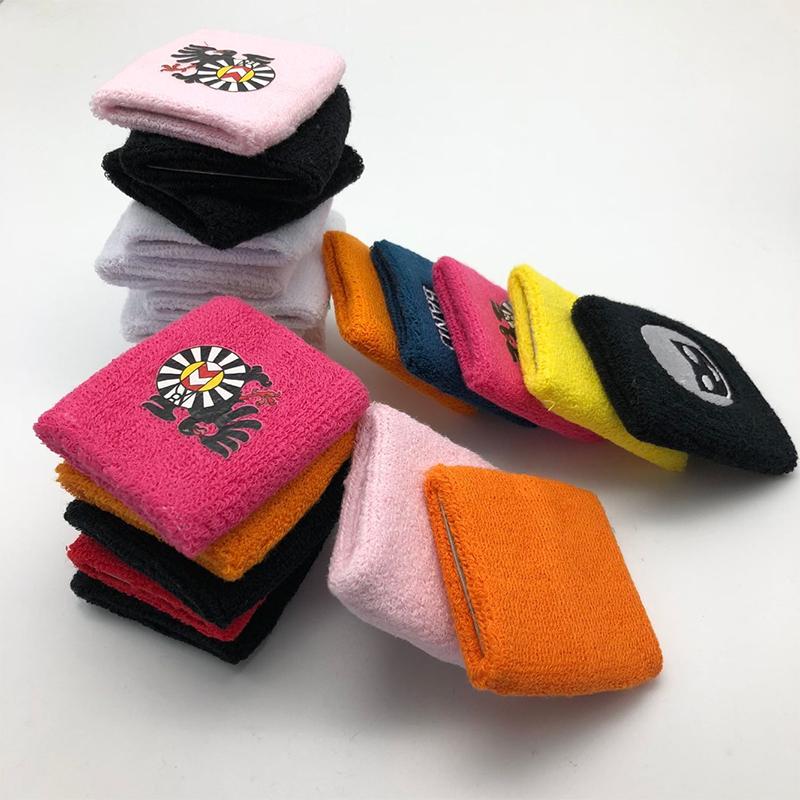 여성 맞춤형 대량 면화 자수 핫 핑크 체육관 골프 운동 Sweatband 방지 팔 팔찌