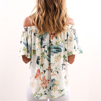 sexy design Short Sleeve shirt top tee Floral Print off-shoulder tunic for summer