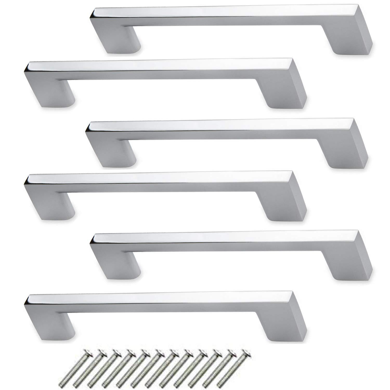 "CBTONE 6 Pack Polished Chrome Cabinet Handles, 5.0""(128 mm) Hole Center, 6.0"" Total Length, Modern Drawer Kitchen Cabinet Hardware Pulls Handle"