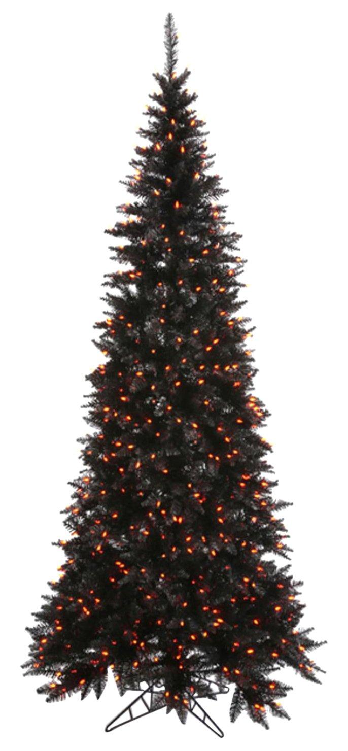 Vickerman 4.5' Pre-Lit Black Fir Slim Artificial Halloween/Christmas Tree - Orange Lights
