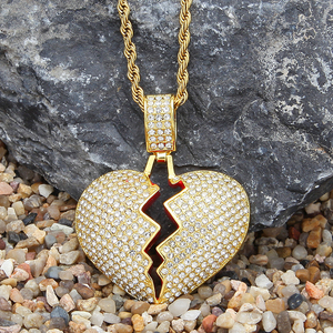 Bling zinc alloy diamond broken heart chain pendant
