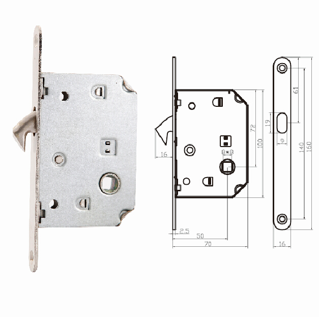 Spain Market Hook Latch Mortise Door Lock For Sliding Door