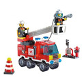 130Pcs Fire Fighting Truck DIY Model Building Blocks Educational Puzzle Action Figure Toys Kids Birthday Gifts