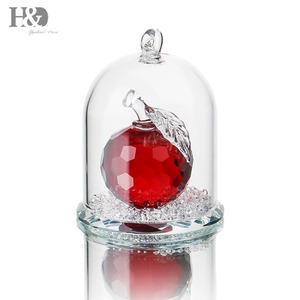 H&D Red Cut Crystal Apple Paperweight Crafts in a Glass Dome Home Wedding Decoration Office Table Ornament