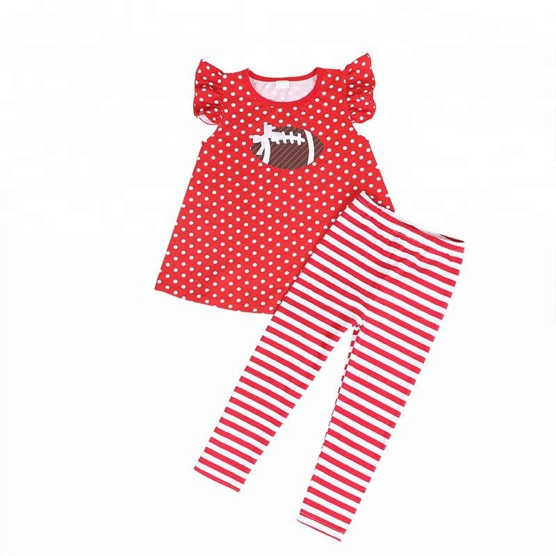 wholesales children girls baby clothing sports season outfit football 2pc set
