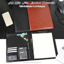 High Quality PU Leather Clip File Portfolio With Calculator & Notepad