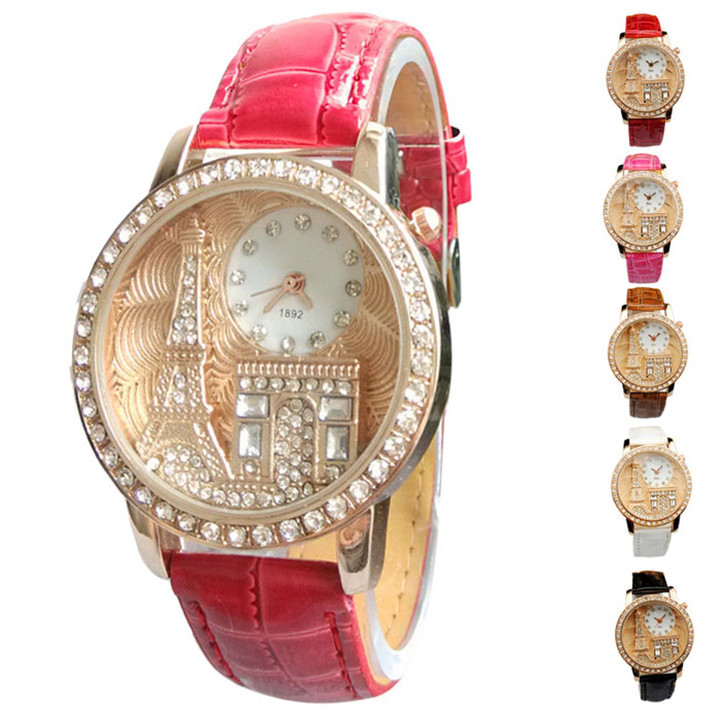 Delicate  Women rhinestone watches Luxury Crystal The Eiffel Tower Watch Fashion Quartz Wristwatches Jun9 Hot Selling norflr