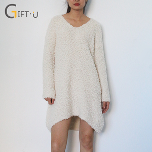 Giftu 86093# Popular Design Long Knit Women Dress V-Neck Sweaters Pullovers