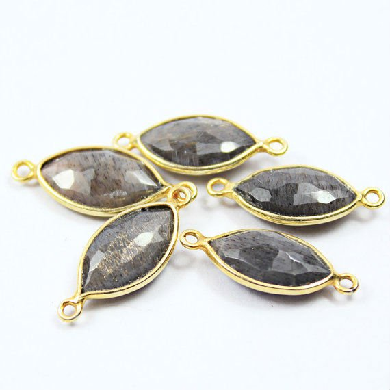 5 Pcs - 20-21mm - Natural Black Sunstone Faceted Puff Marquise 925 Sterling Silver Gold Vermeil Handmade Bezel Connectors -551