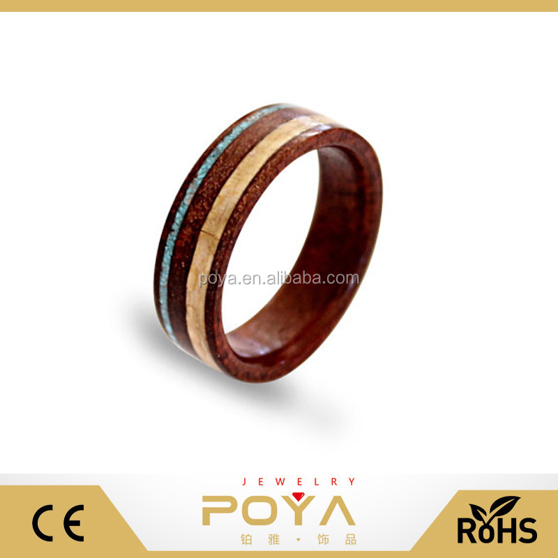 POYA Jewelry Hot Sale Fashion Red Wood Tungsten Finger Ring With Antler And Turquoise Inlay Wedding Bands Engagement For Ladies