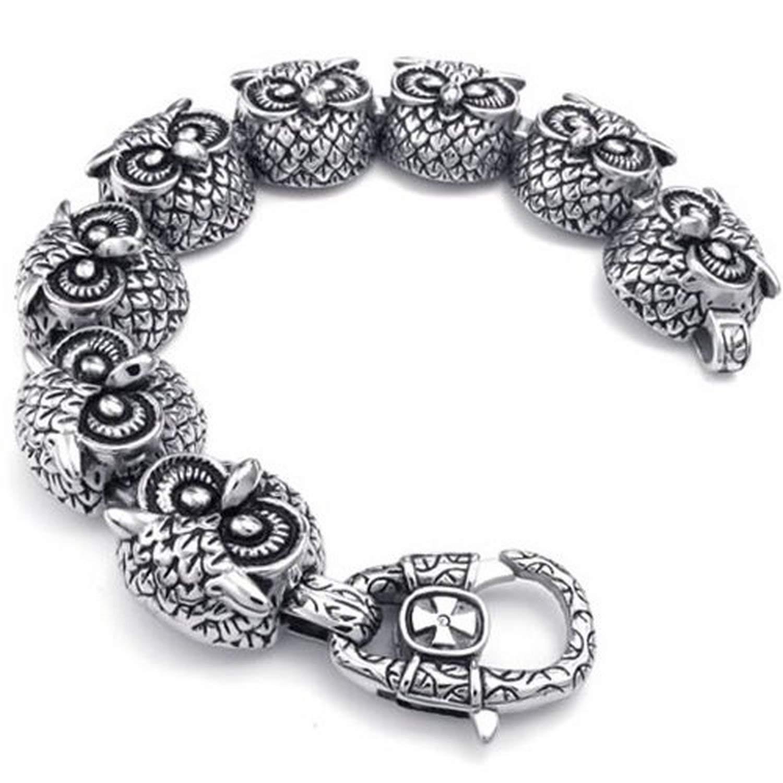 CICI Jewelry Mens Stainless Steel Bracelet, Biker Heavy Wide Gothic Owl, Black Silver