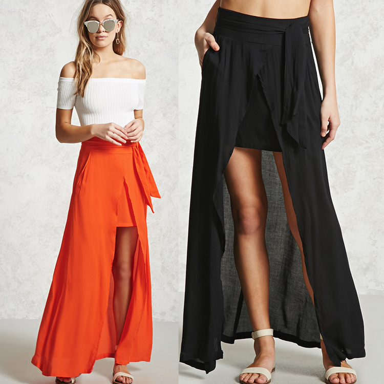 2017 trending products OEM pretty high waist asymmetrical front slit long maxi skirt for women