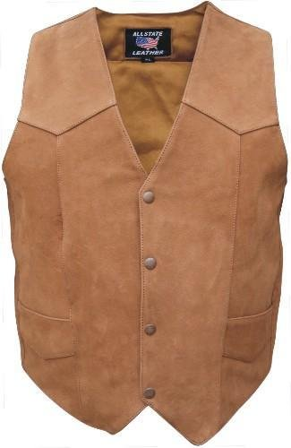 Mens Basic Brown Motorcycle Vest, Premium Buffalo Leather