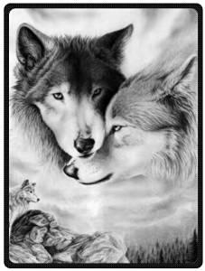 "black and white wolf Plush Throw Blanket Travel Blanket 58"" x 80"" (Large)"