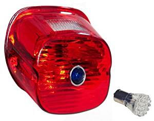 Red Laydown Taillight Lens Harley's with Blue Dot & Red L.E.D Bulb1999 Thru Early 2003 Big Twins & Sportster Models