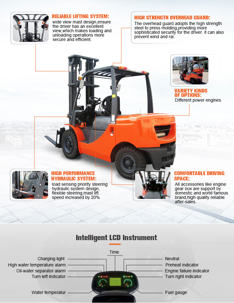 New design 1.8t 2t gasoline forklift truck