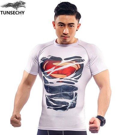 Manufacturer Men's Custom Printing Short Sleeve Athletic Compression Sports Dry Fit Men T Shirt