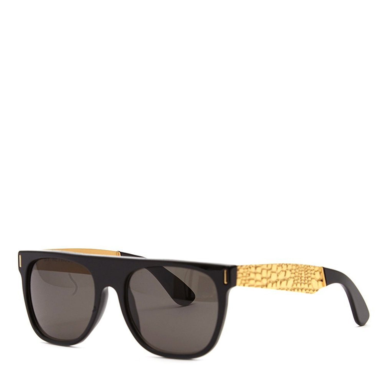 75dfe2339bcc Get Quotations · Super Unisex Flat Top Francis Goggrato Sunglasses MXL Black  Gold One Size