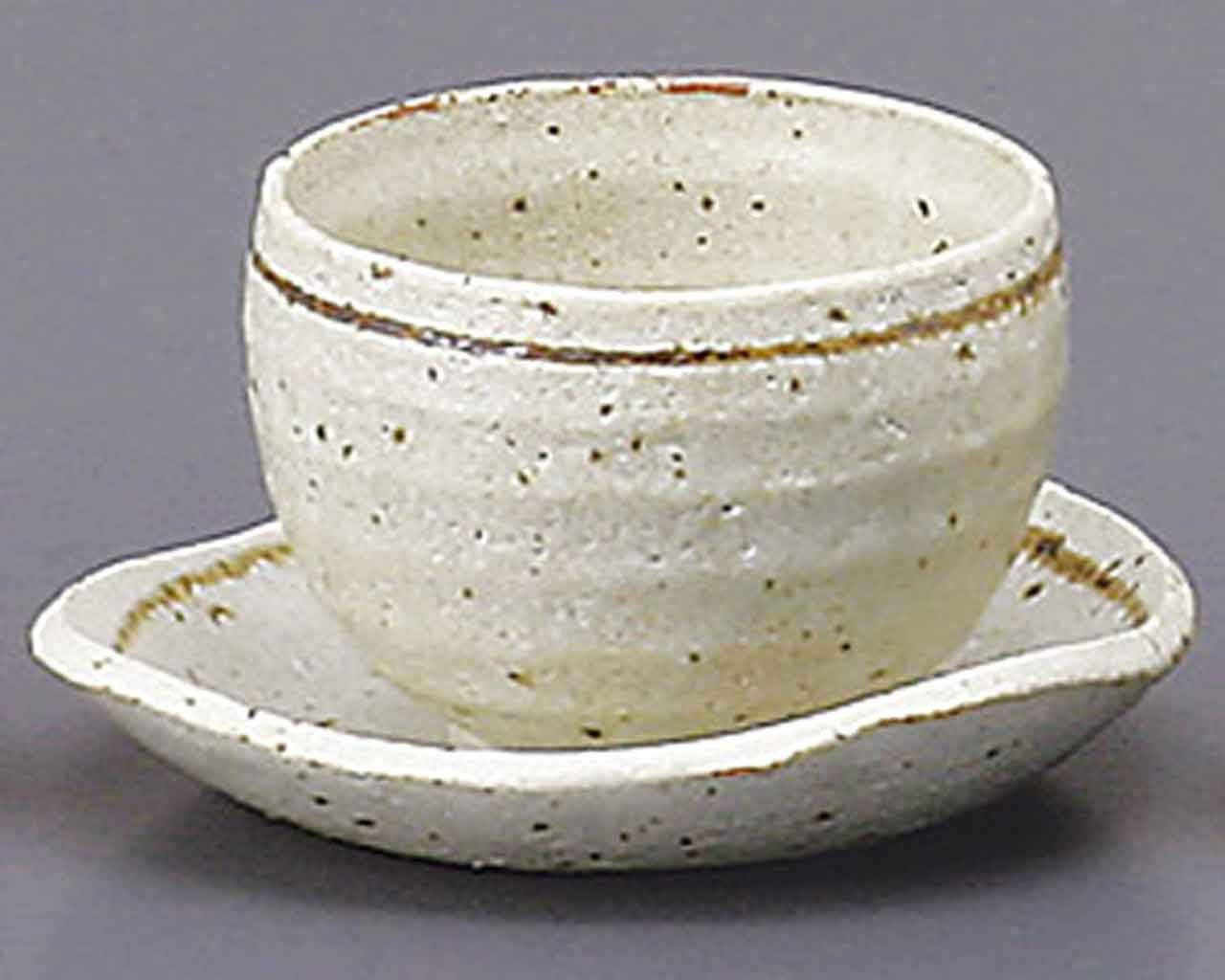 Silver Glaze 3.9inch Cup & Saucer White Ceramic Made in Japan