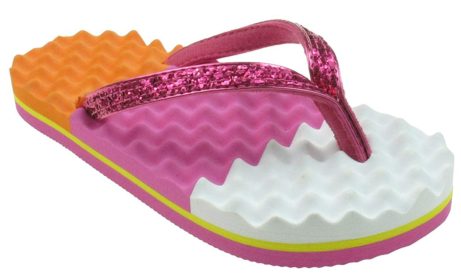 Capelli New York Metallic Faux Leather Thong on Colorblocked Egg Crate Textured Girls Flip Flops