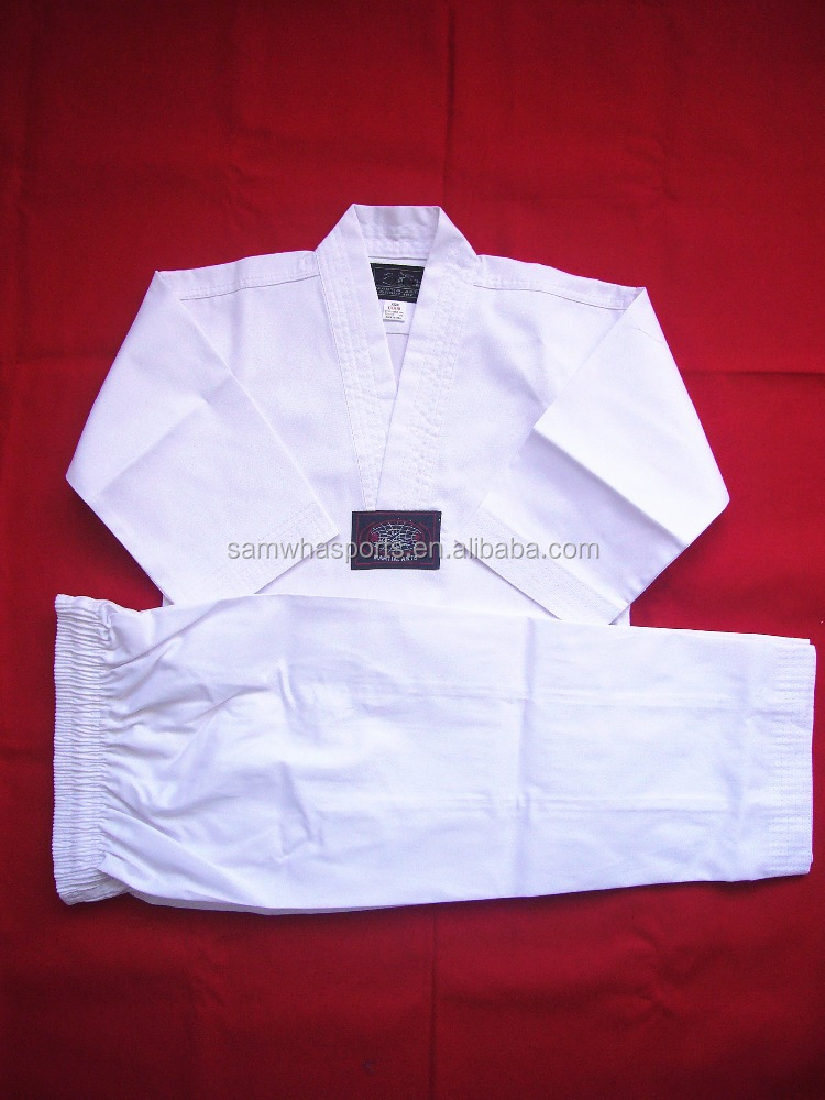 White kids custom taekwondo uniforms dobok uniformes de taekwondo