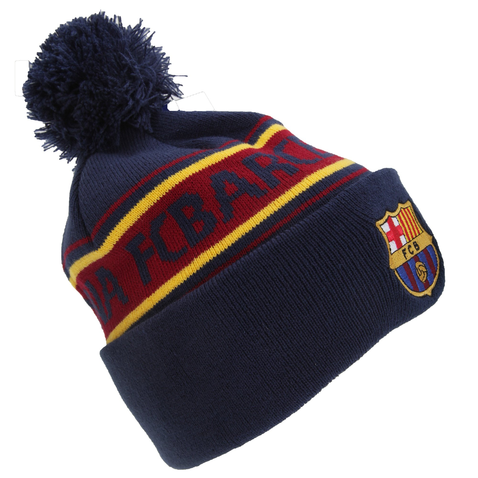 486b12f2a9c9e Get Quotations · FC Barcelona Official Text Winter Beanie Hat