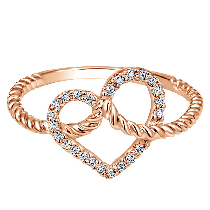Rose Gold Plated Heart Ring New Arrival Copper Swinging Pendant Diamond Ring
