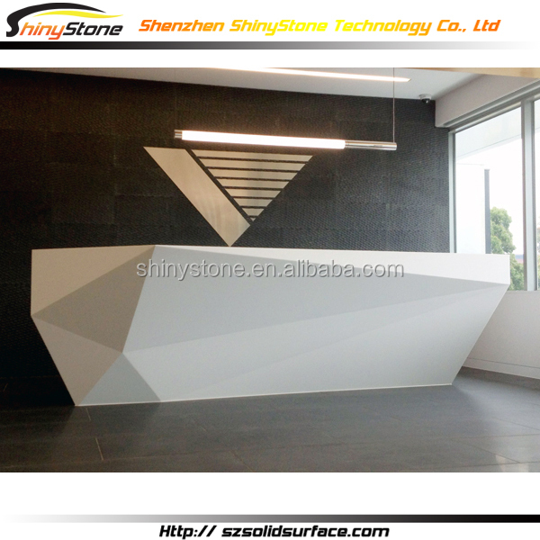 Information Desk Design stylish diamond shaped design solid surface/man-made fair