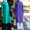 Oem supplier split side fashion design long sleeve pearl chiffon muslim women party dress