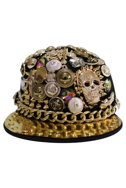 7b8be13d525 Get Quotations · Unisex Pointed Rivets Skull Performance Cap Punk Hip Hop  Sequins Baseball Flat Hat