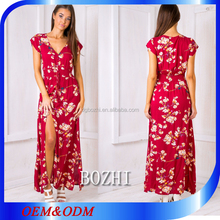 2016 African sex print Hailey Loves maxi dress- Red floral split long designs dress