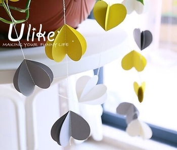 Home Decor Party Banner 3d Paper Heart Shape Hanging Banner Love