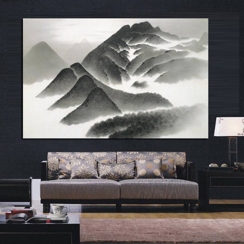 Hot Sale Ink Style Mountains Landscape Print Canvas Art Painting Wall Hanging Decor Painting