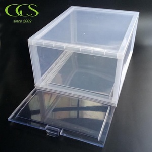 S7A02 Assembly Model Better than Acrylic PC Plastic Transparent Drop Front Shoe Box Clear Front Door Stackable Sneaker Box