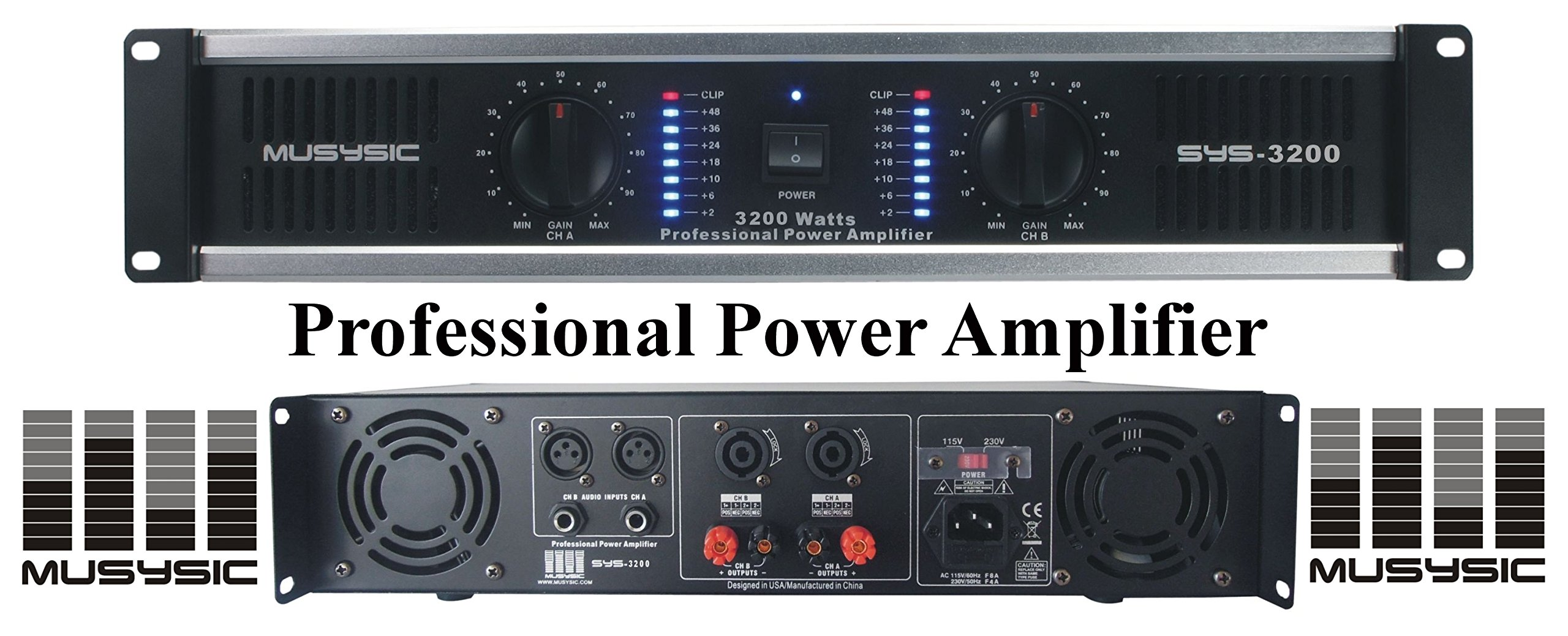Get Quotations · MUSYSIC 2 Channel 3200 Watts DJ PAProfessional Power  Amplifier 2U Rack mount SYS-3200