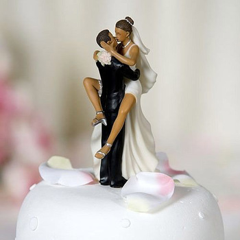 Wedding Favors Funny Sexy African American Wedding Bride and Groom Cake Topper