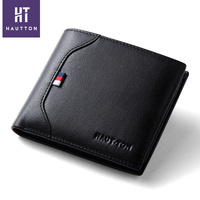 HAUTTON Wholesale Small Genuine Leather Handmade Men Wallets