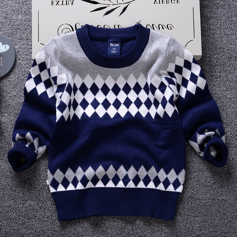 Free Shipping Latest Fashion Plaid Knitted Pattern Pullover Cotton