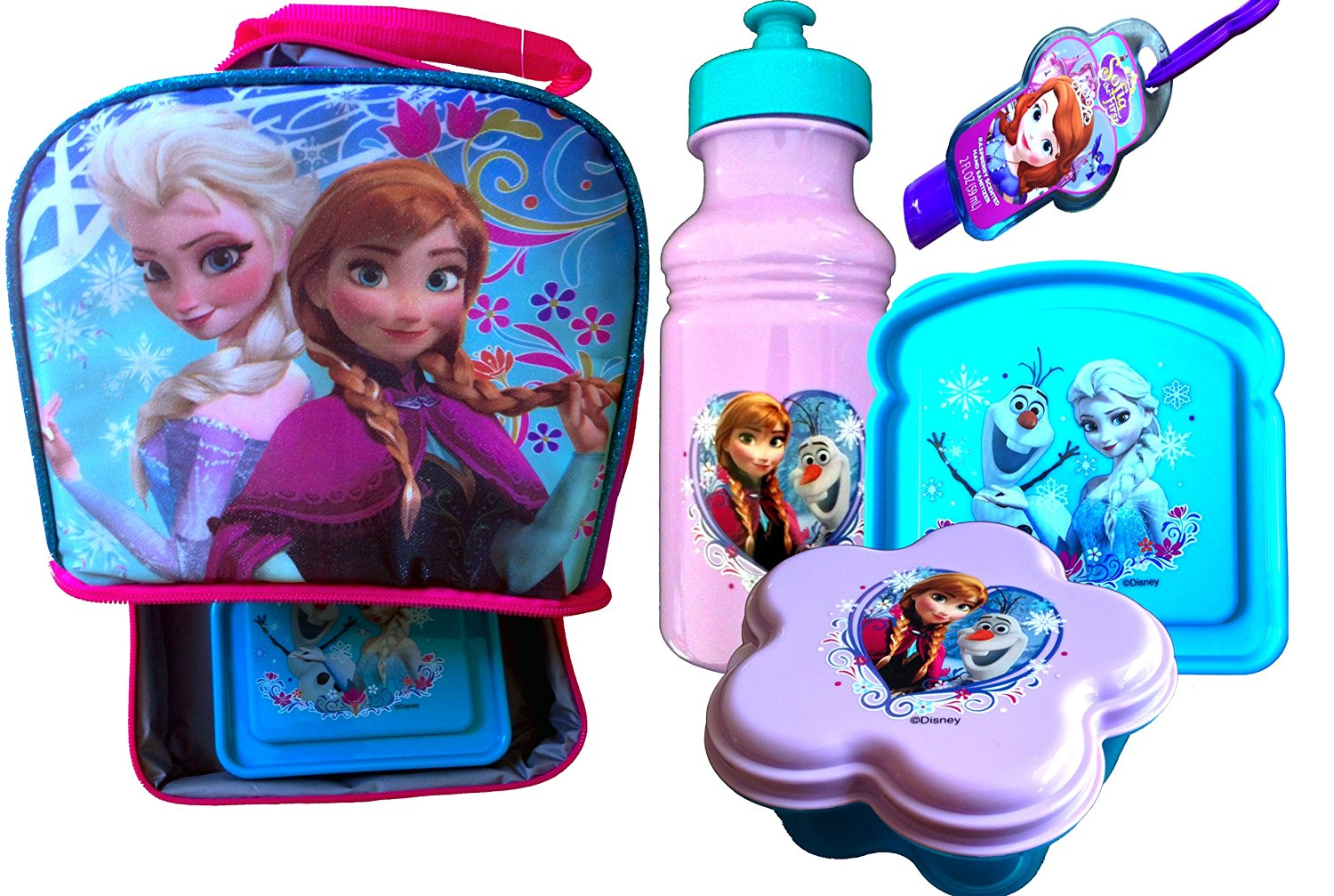 Disney Frozen Standing Lunch Box with Handle Includes 3 Piece Lunch Set , Pull-top Water Bottle, Snack Container , Sandwich Container and Bonus Sofia the First Hand Sanitizer (LUNCH BOX AND 3 PIECE LUNCH SET)