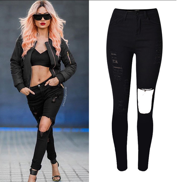 2016 Summer Fashion Narrow Bottom High Waist Jean Pants Ladies Black Skinny Big Holes Shredded Ripped Damaged Jeans For Women