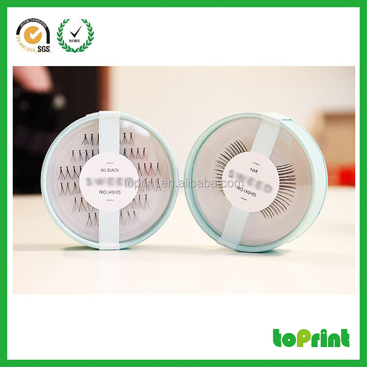 Customized logo Luxury Round eyelashes packaging box PVC with tray