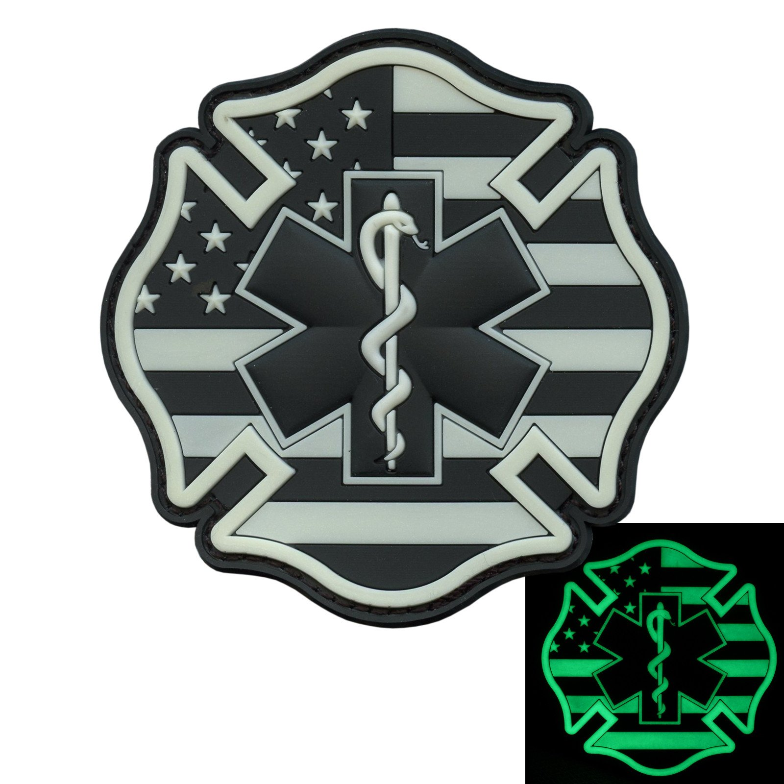 Glow Dark EMS EMT Fire Fighter Department USA American Flag Rescue Firemen Paramedic Medic Morale PV