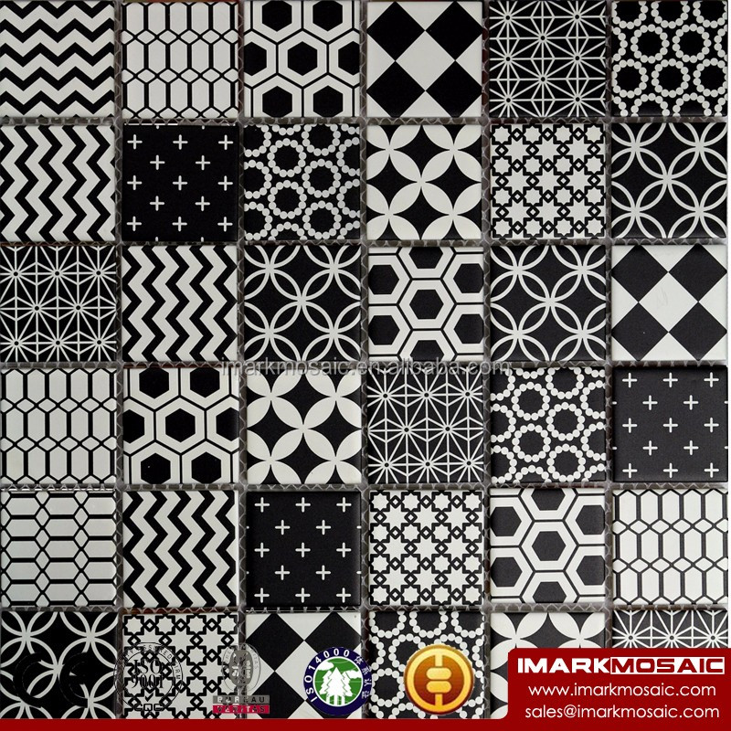 CLIO Moroccan Style Glass Mosaic Tile Encaustic Cement Stylish Glass Mosaic Tile Black And White Color Pattern Tile