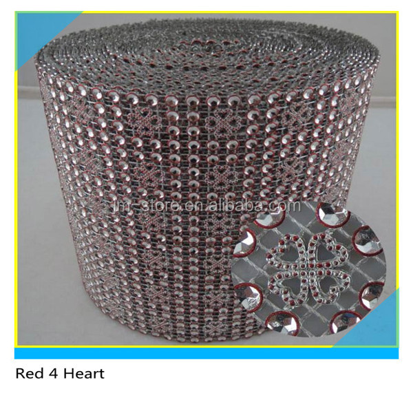 10 Yards 1 Roll Red Four Heart Plastic Rhinestone Mesh Ribbon Wrap For Party